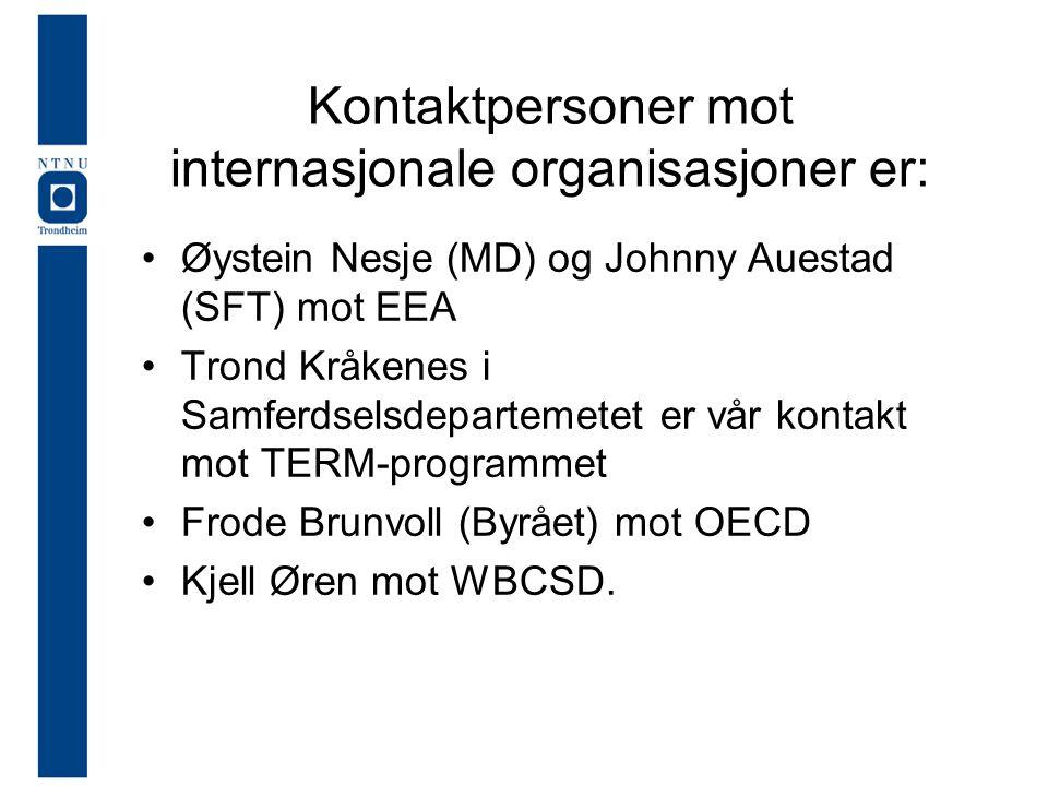 Kontaktpersoner mot internasjonale organisasjoner er: Øystein Nesje (MD) og Johnny Auestad (SFT) mot EEA Trond Kråkenes i Samferdselsdepartemetet er vår kontakt mot TERM-programmet Frode Brunvoll (Byrået) mot OECD Kjell Øren mot WBCSD.