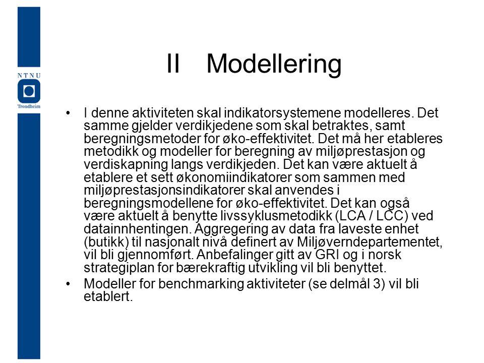 IIModellering I denne aktiviteten skal indikatorsystemene modelleres.