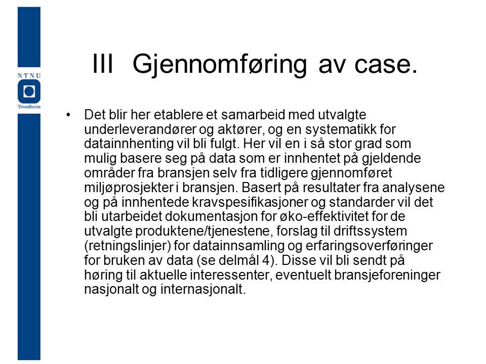 IIIGjennomføring av case.