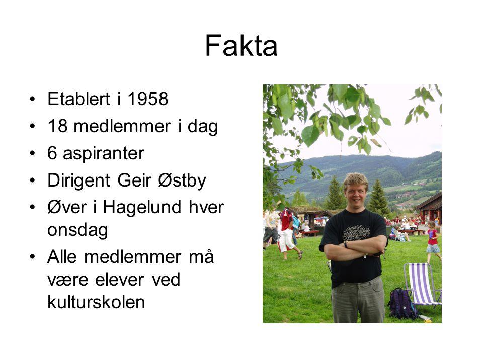 Fakta Etablert i 1958 18 medlemmer i dag 6 aspiranter Dirigent Geir Østby Øver i Hagelund hver onsdag Alle medlemmer må være elever ved kulturskolen
