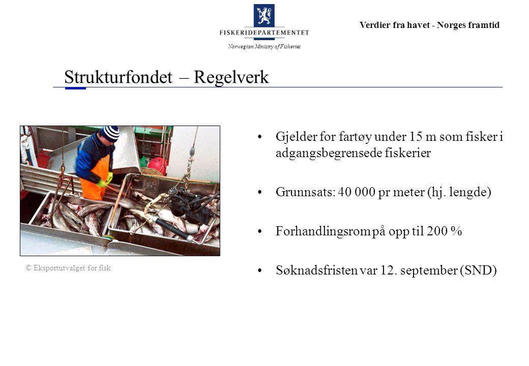 Norwegian Ministry of Fisheries Verdier fra havet - Norges framtid Strukturfondet – Regelverk Gjelder for fartøy under 15 m som fisker i adgangsbegrensede fiskerier Grunnsats: 40 000 pr meter (hj.