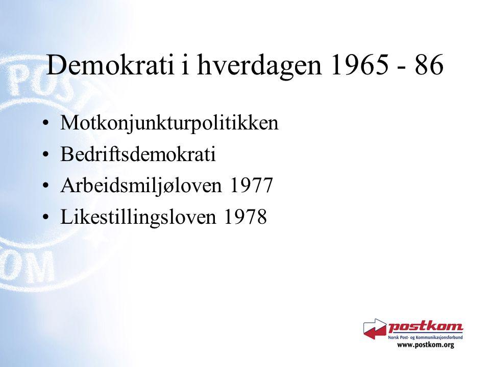 Demokrati i hverdagen 1965 - 86 Motkonjunkturpolitikken Bedriftsdemokrati Arbeidsmiljøloven 1977 Likestillingsloven 1978