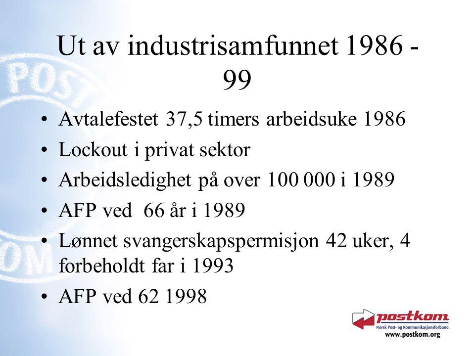 Ut av industrisamfunnet 1986 - 99 Avtalefestet 37,5 timers arbeidsuke 1986 Lockout i privat sektor Arbeidsledighet på over 100 000 i 1989 AFP ved 66 å