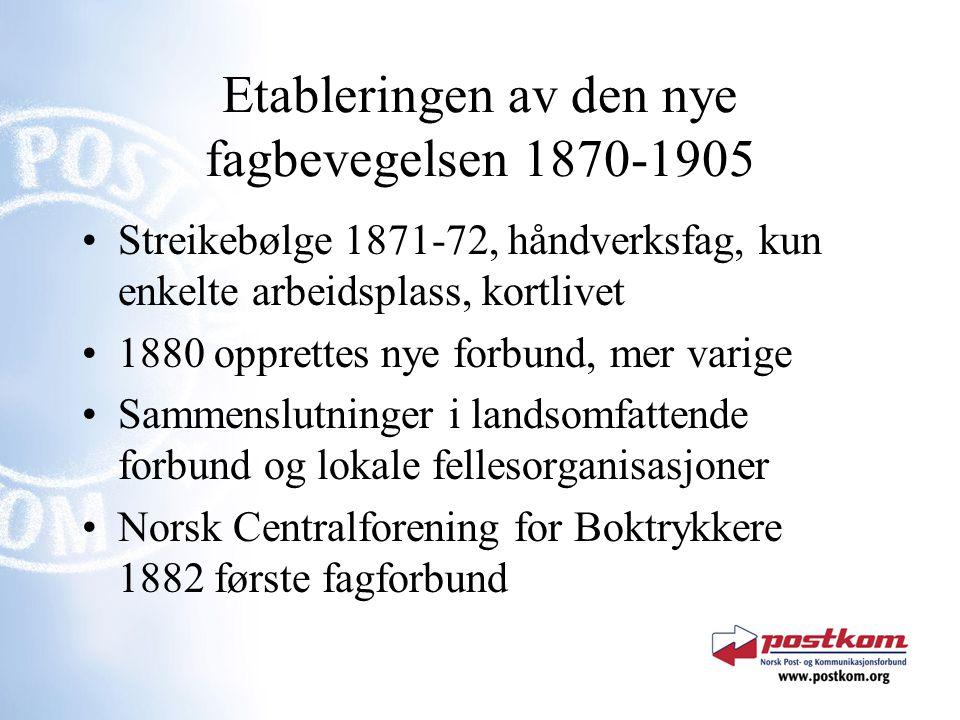Etableringen av den nye fagbevegelsen 1870-1905 Streikebølge 1871-72, håndverksfag, kun enkelte arbeidsplass, kortlivet 1880 opprettes nye forbund, me
