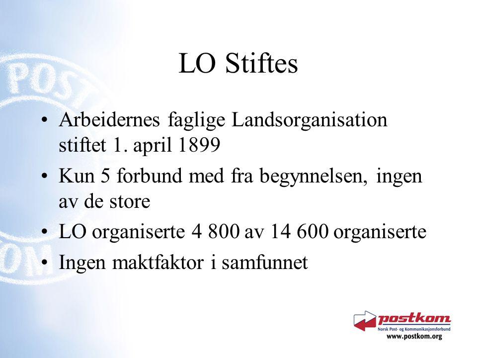 LO Stiftes Arbeidernes faglige Landsorganisation stiftet 1. april 1899 Kun 5 forbund med fra begynnelsen, ingen av de store LO organiserte 4 800 av 14