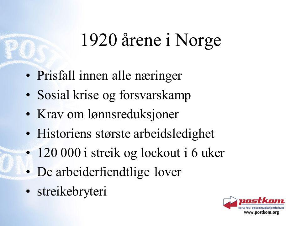 1920 årene i Norge Prisfall innen alle næringer Sosial krise og forsvarskamp Krav om lønnsreduksjoner Historiens største arbeidsledighet 120 000 i str