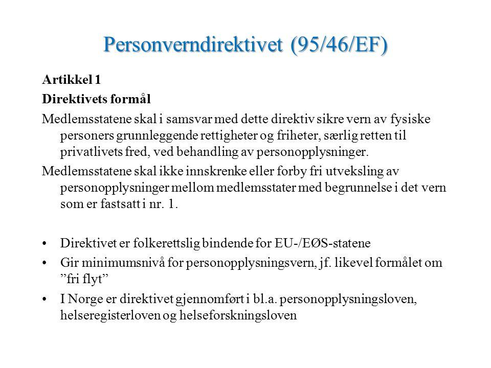 Personverndirektivet (95/46/EF) Artikkel 1 Direktivets formål Medlemsstatene skal i samsvar med dette direktiv sikre vern av fysiske personers grunnleggende rettigheter og friheter, særlig retten til privatlivets fred, ved behandling av personopplysninger.