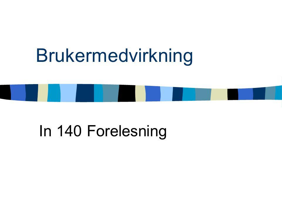 Historie Skandinaviske tradisjon Sosio-teknisk metode NJMF-prosjektet(1972-73) –Dataavtalen LO-NAF(i dag NHO) –Arbeidsmiljøloven §12 UTOPIA prosjektet(1981-84) Aksjonsforskning I dag: stor enighet i software industrien at brukermedvirkning er viktig