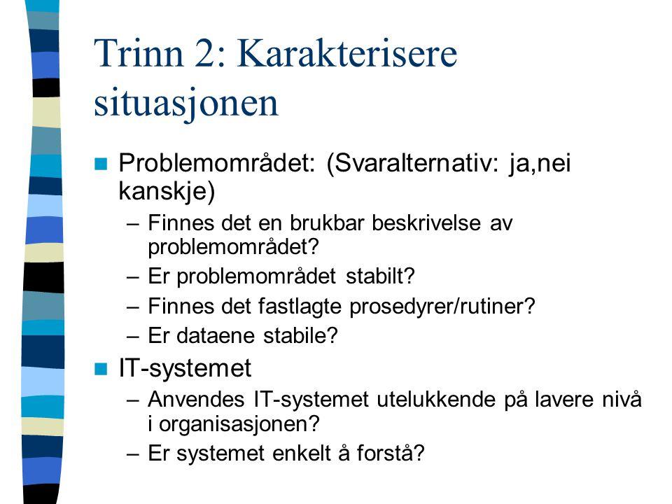 Trinn 2: Karakterisere situasjonen Problemområdet: (Svaralternativ: ja,nei kanskje) –Finnes det en brukbar beskrivelse av problemområdet.