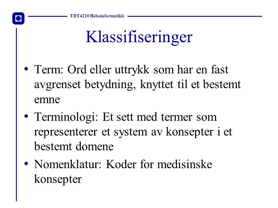 TDT4210 Helseinformatikk Koder Koding er prosessen hvor et sett med ord som beskriver et medisinsk konsept blir oversatt til en kode.