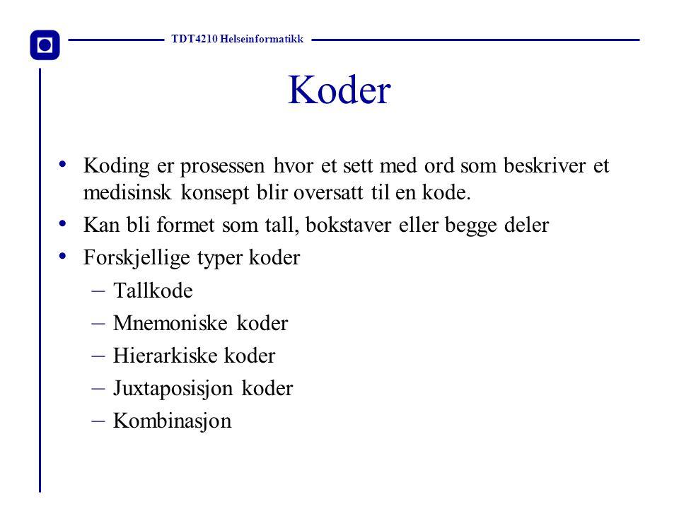 TDT4210 Helseinformatikk Krav for en klassifisering Domene fullstendighet Ikke-overlappende klasser Egnet for hensikten Homogen orden Klare kriterier for klasseavgrensninger Entydige og komplette retningslinjer for bruke Passende detaljnivå