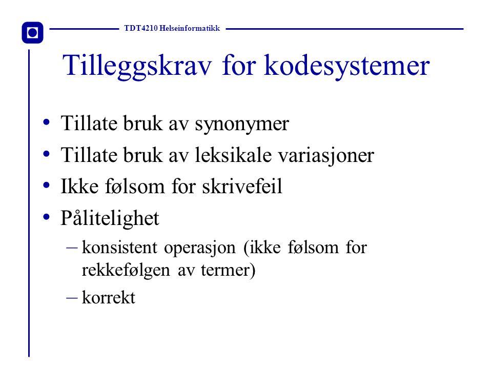 TDT4210 Helseinformatikk Eksempler på kodeverk ICD-10 (sykdommer) NCSP (operasjoner) ICPC (kontakårsaker) SNOMED (patologifunn) ATC (medikamenter) SNOMED CT (alt)