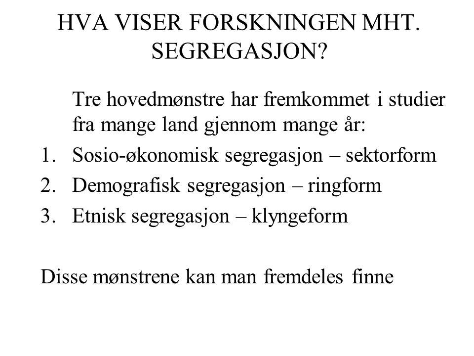 HVA VISER FORSKNINGEN MHT. SEGREGASJON.