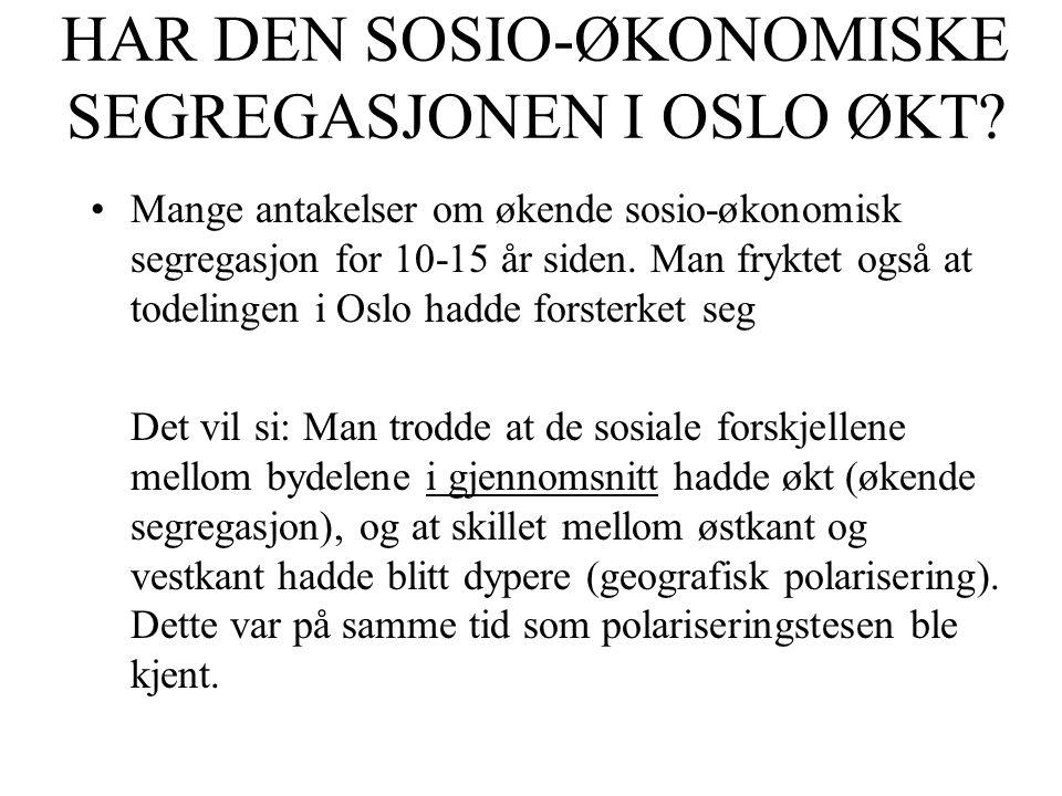 HAR DEN SOSIO-ØKONOMISKE SEGREGASJONEN I OSLO ØKT.
