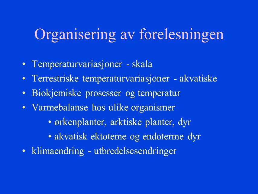 Organisering av forelesningen Temperaturvariasjoner - skala Terrestriske temperaturvariasjoner - akvatiske Biokjemiske prosesser og temperatur Varmeba