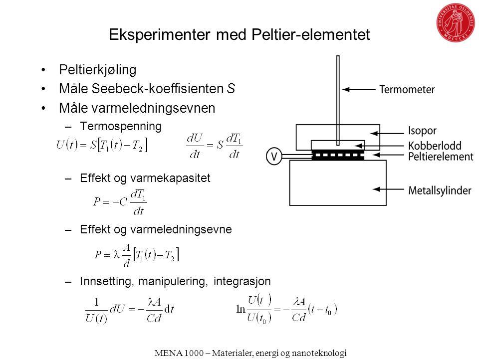 Eksperimenter med Peltier-elementet Peltierkjøling Måle Seebeck-koeffisienten S Måle varmeledningsevnen –Termospenning –Effekt og varmekapasitet –Effekt og varmeledningsevne –Innsetting, manipulering, integrasjon MENA 1000 – Materialer, energi og nanoteknologi