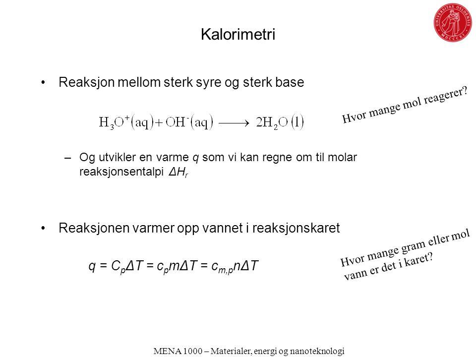 Kalorimetri Reaksjon mellom sterk syre og sterk base –Og utvikler en varme q som vi kan regne om til molar reaksjonsentalpi ΔH r Reaksjonen varmer opp vannet i reaksjonskaret q = C p ΔT = c p mΔT = c m,p nΔT MENA 1000 – Materialer, energi og nanoteknologi Hvor mange mol reagerer.