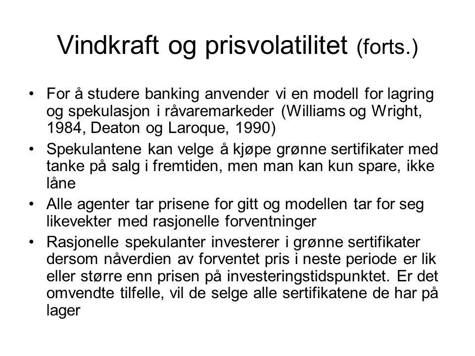 Vindkraft og prisvolatilitet (forts.) For å studere banking anvender vi en modell for lagring og spekulasjon i råvaremarkeder (Williams og Wright, 198