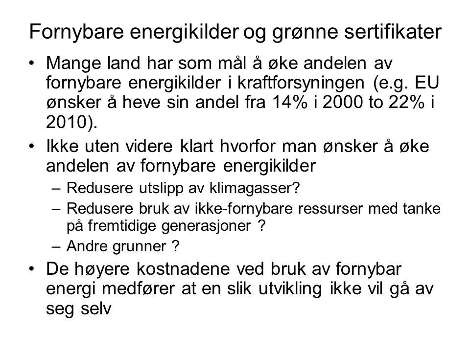 Fornybare energikilder og grønne sertifikater Mange land har som mål å øke andelen av fornybare energikilder i kraftforsyningen (e.g. EU ønsker å heve