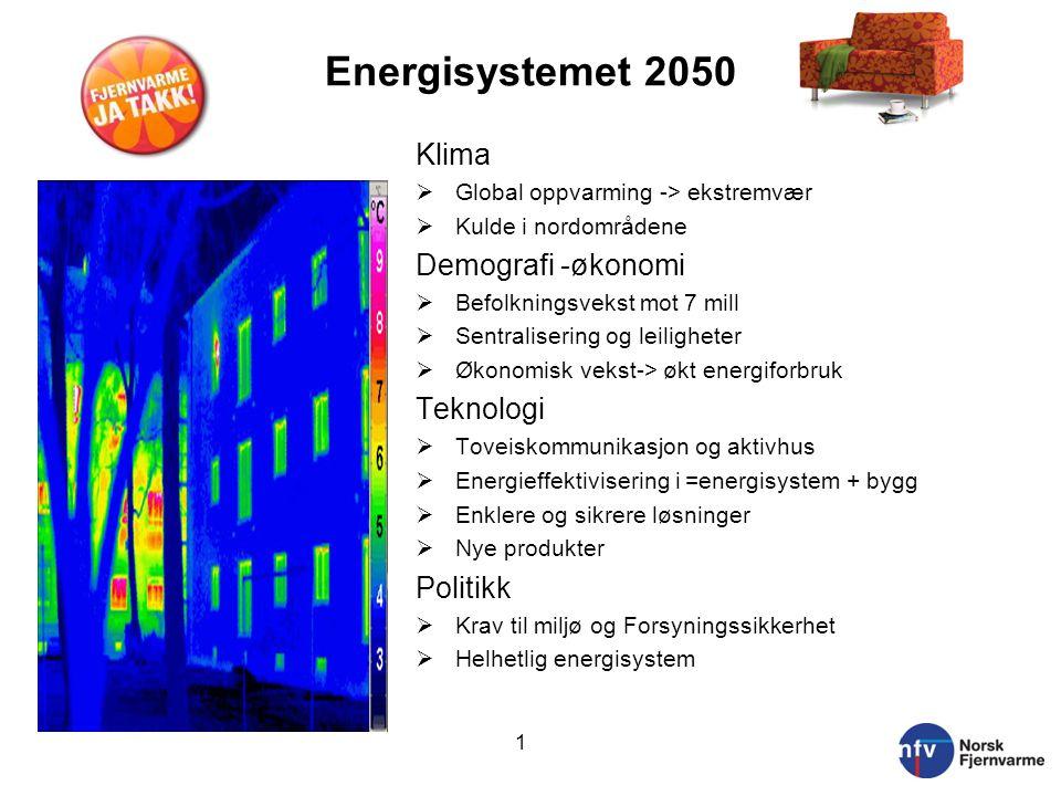 Energisystemet 2050 Klima  Global oppvarming -> ekstremvær  Kulde i nordområdene Demografi -økonomi  Befolkningsvekst mot 7 mill  Sentralisering o