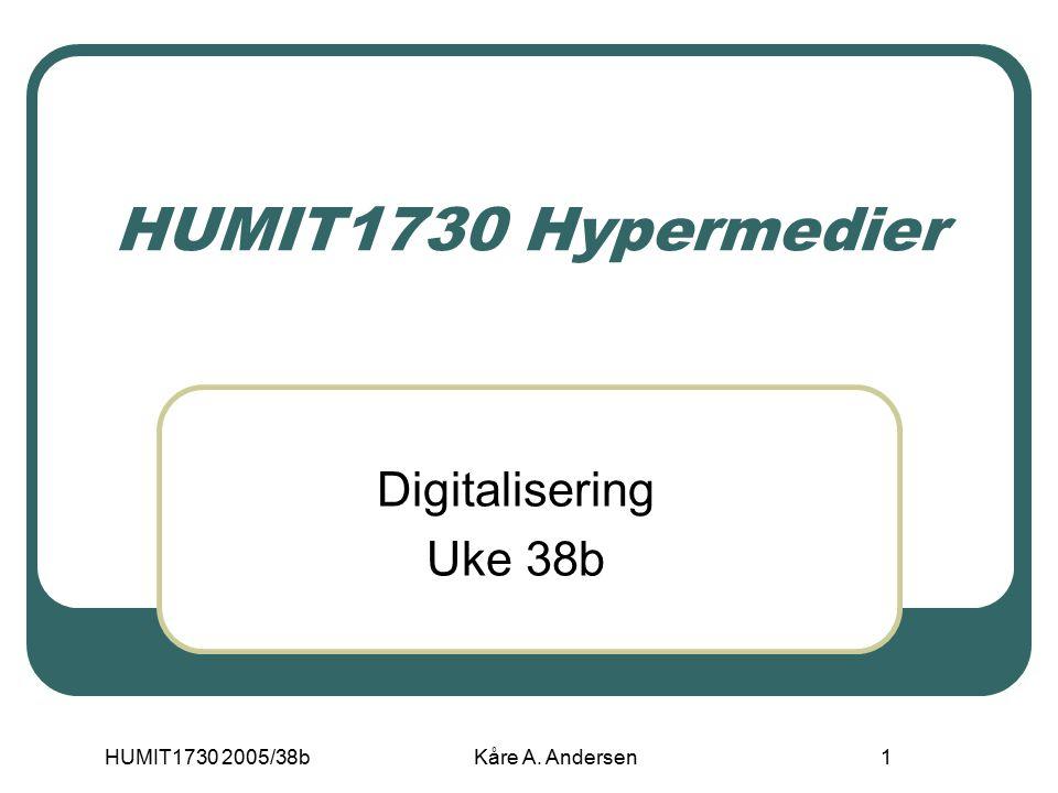 HUMIT1730 2005/38bKåre A. Andersen1 HUMIT1730 Hypermedier Digitalisering Uke 38b