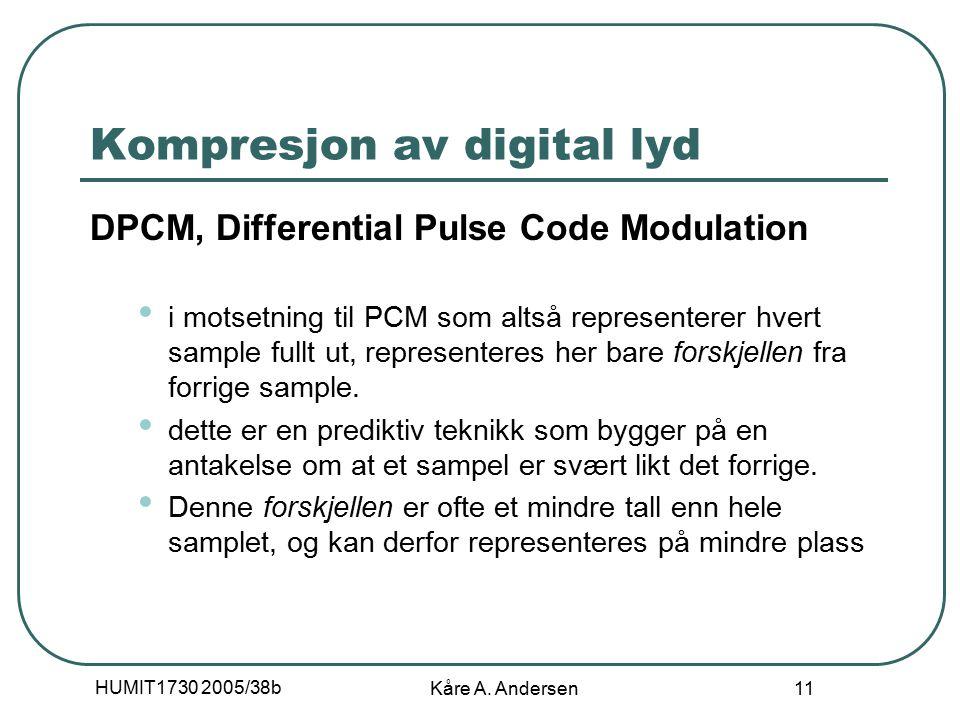 HUMIT1730 2005/38b Kåre A. Andersen 11 Kompresjon av digital lyd DPCM, Differential Pulse Code Modulation i motsetning til PCM som altså representerer