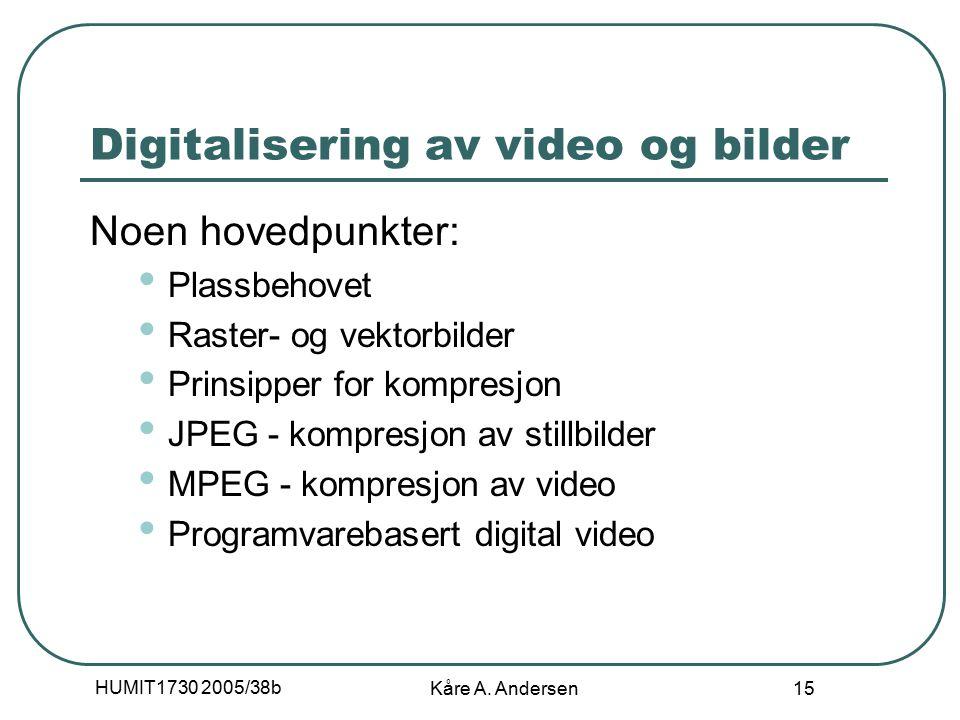 HUMIT1730 2005/38b Kåre A. Andersen 15 Digitalisering av video og bilder Noen hovedpunkter: Plassbehovet Raster- og vektorbilder Prinsipper for kompre