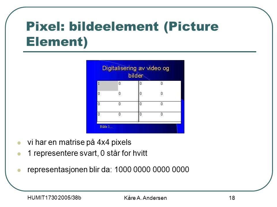 HUMIT1730 2005/38b Kåre A. Andersen 18 Pixel: bildeelement (Picture Element) vi har en matrise på 4x4 pixels 1 representere svart, 0 står for hvitt re