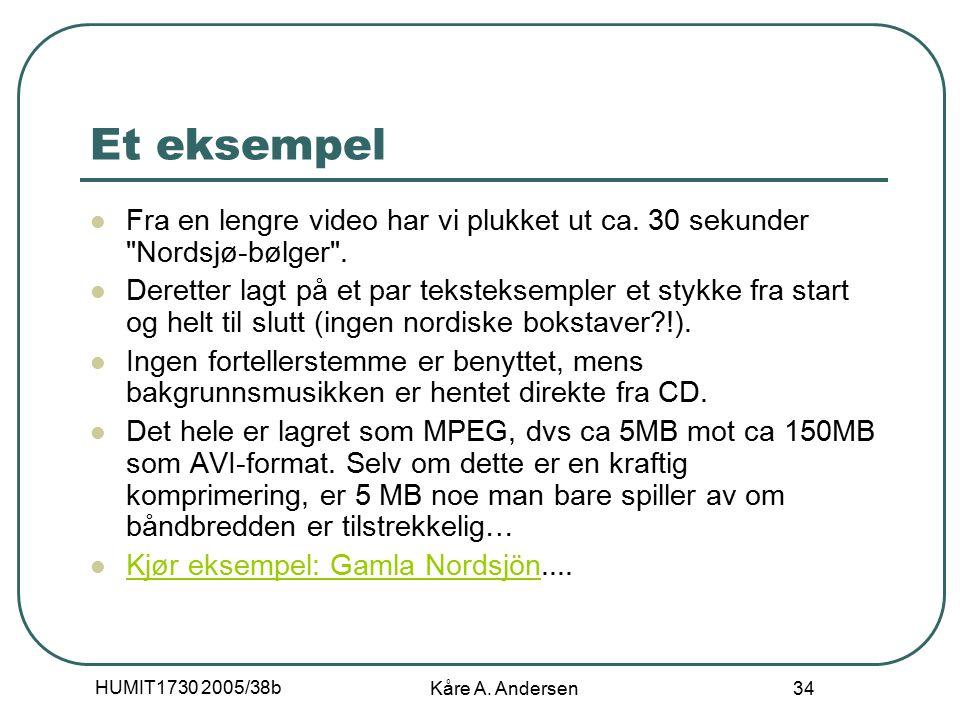 HUMIT1730 2005/38b Kåre A. Andersen 34 Et eksempel Fra en lengre video har vi plukket ut ca.
