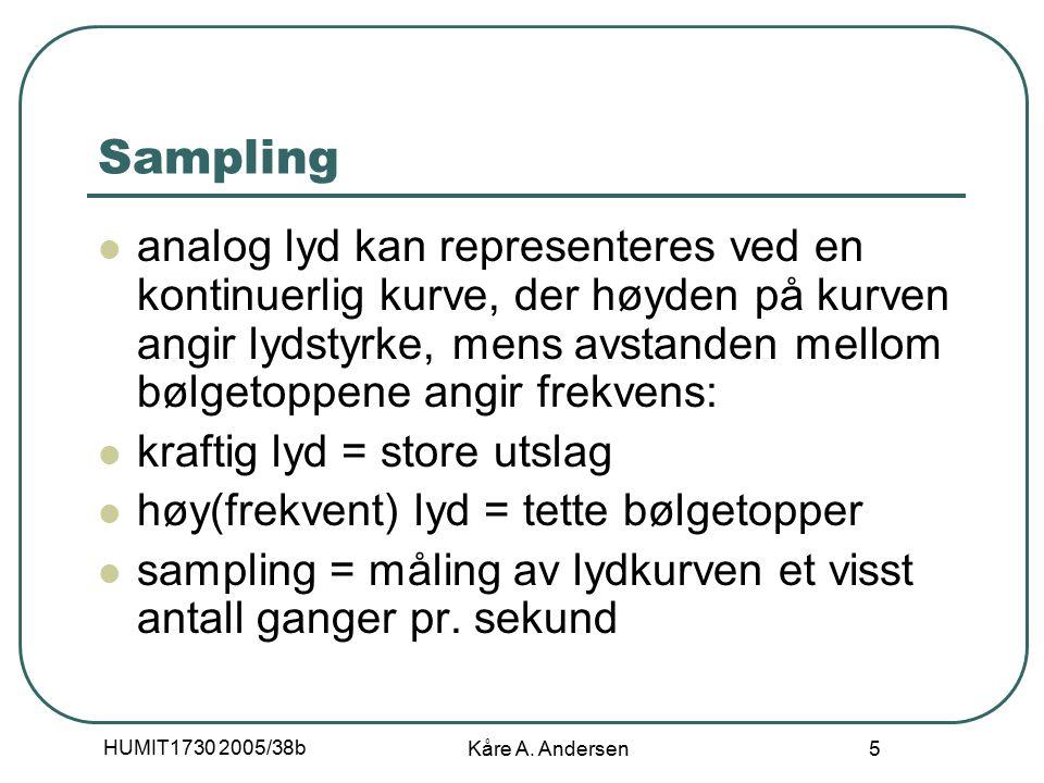 HUMIT1730 2005/38b Kåre A. Andersen 6 Samplingsfrekvens