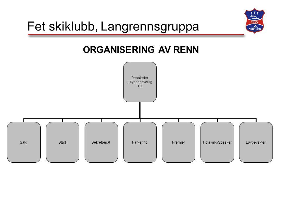 Fet skiklubb, Langrennsgruppa Rennleder Løypeansvarlig TD SalgStartSekretæriatParkeringPremierTidtaking/SpeakerLøypevakter ORGANISERING AV RENN