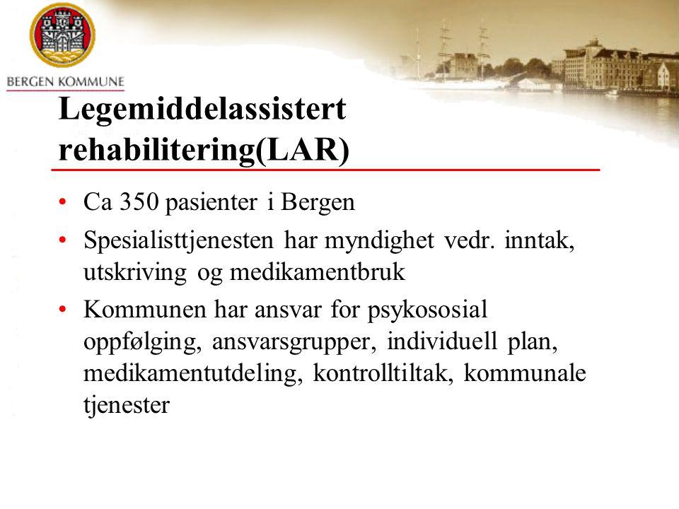 Statlig finansierte prosjekter Prosjekt K Narkotikaprogram med domstolskontroll Lavterskel helsetiltak LAR Strax-huset Oppfølgingsarbeid Ytrebygda Dagsverket
