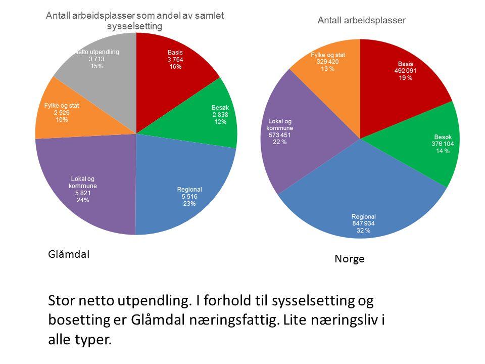Norge Glåmdal Stor netto utpendling.