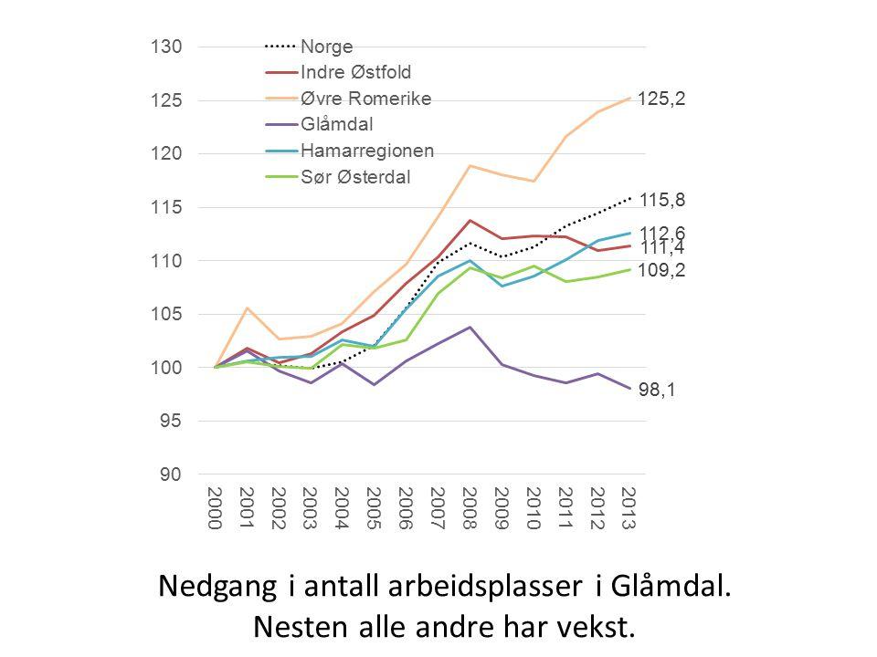 Nedgang i antall arbeidsplasser i Glåmdal. Nesten alle andre har vekst.