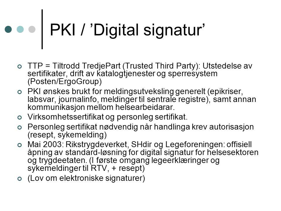 PKI / 'Digital signatur' TTP = Tiltrodd TredjePart (Trusted Third Party): Utstedelse av sertifikater, drift av katalogtjenester og sperresystem (Posten/ErgoGroup) PKI ønskes brukt for meldingsutveksling generelt (epikriser, labsvar, journalinfo, meldinger til sentrale registre), samt annan kommunikasjon mellom helsearbeidarar.
