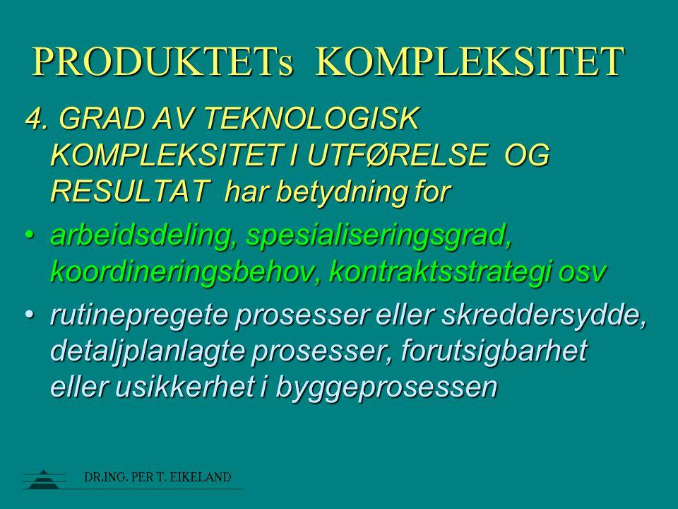 PRODUKTETs KOMPLEKSITET 4. GRAD AV TEKNOLOGISK KOMPLEKSITET I UTFØRELSE OG RESULTAT har betydning for arbeidsdeling, spesialiseringsgrad, koordinering