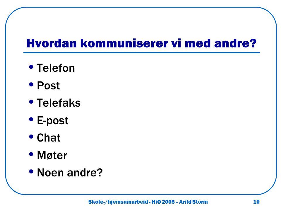 Skole-/hjemsamarbeid - HiO 2005 - Arild Storm 10 Hvordan kommuniserer vi med andre? Telefon Post Telefaks E-post Chat Møter Noen andre?