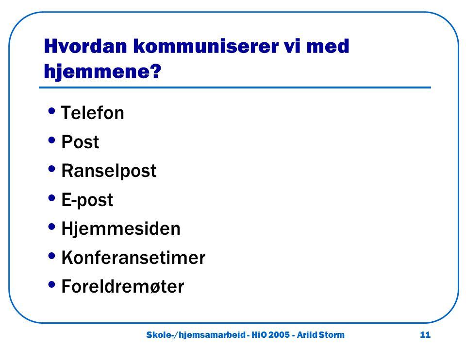 Skole-/hjemsamarbeid - HiO 2005 - Arild Storm 11 Hvordan kommuniserer vi med hjemmene? Telefon Post Ranselpost E-post Hjemmesiden Konferansetimer Fore