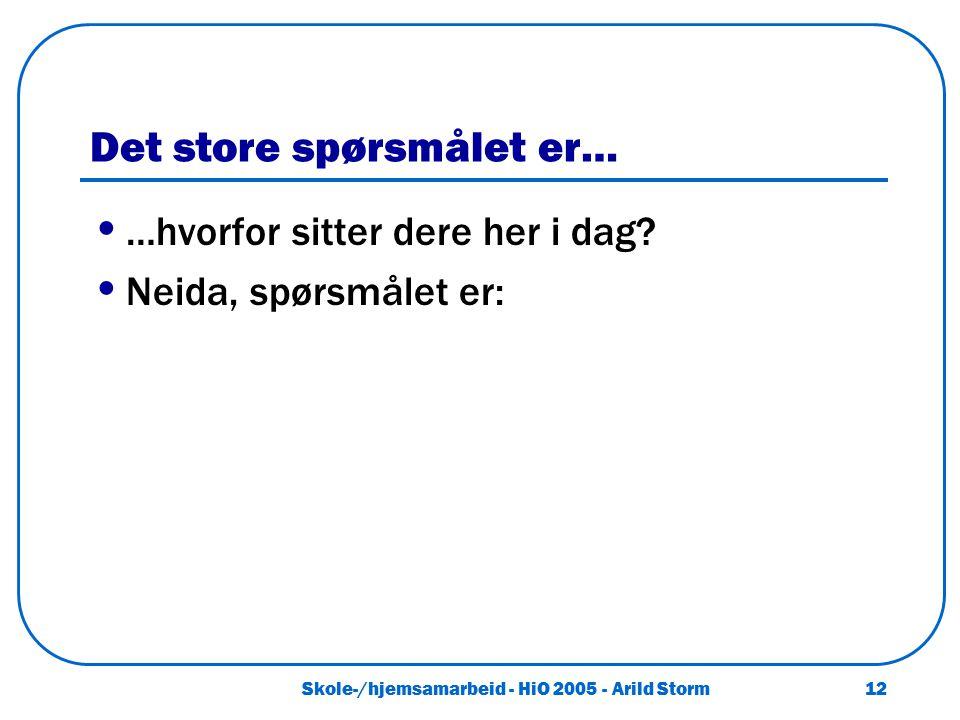 Skole-/hjemsamarbeid - HiO 2005 - Arild Storm 12 Det store spørsmålet er… …hvorfor sitter dere her i dag? Neida, spørsmålet er: