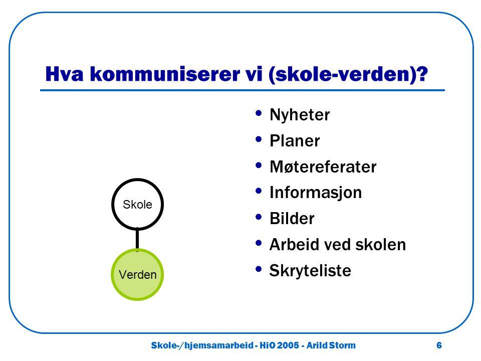 Skole-/hjemsamarbeid - HiO 2005 - Arild Storm 6 Hva kommuniserer vi (skole-verden)? Nyheter Planer Møtereferater Informasjon Bilder Arbeid ved skolen