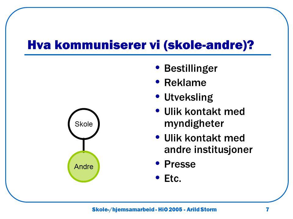 Skole-/hjemsamarbeid - HiO 2005 - Arild Storm 7 Hva kommuniserer vi (skole-andre)? Bestillinger Reklame Utveksling Ulik kontakt med myndigheter Ulik k