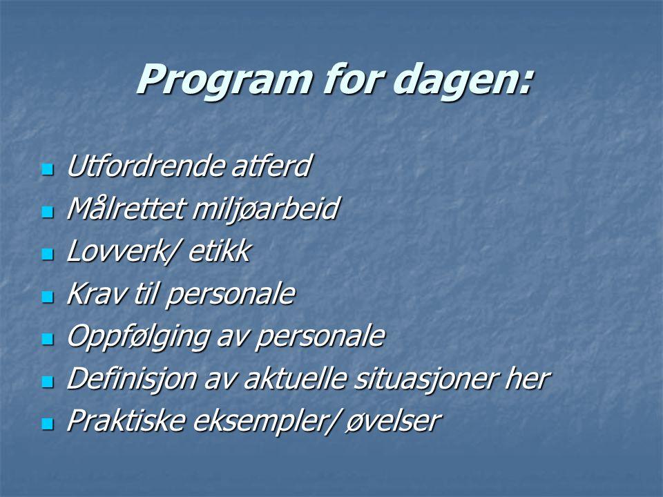 Program for dagen: Utfordrende atferd Utfordrende atferd Målrettet miljøarbeid Målrettet miljøarbeid Lovverk/ etikk Lovverk/ etikk Krav til personale