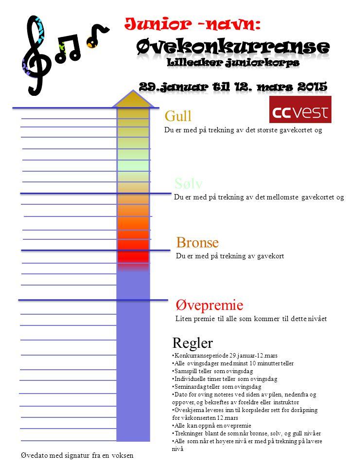 Regler Konkurranseperiode 29.januar-12.mars Alle øvingsdager med minst 10 minutter teller Samspill teller som øvingsdag Individuelle timer teller som