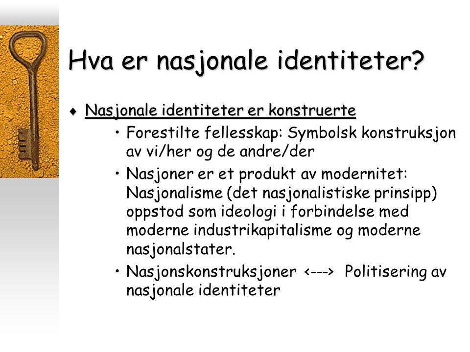 Hva er nasjonale identiteter?  Nasjonale identiteter er konstruerte Forestilte fellesskap: Symbolsk konstruksjon av vi/her og de andre/der Nasjoner e