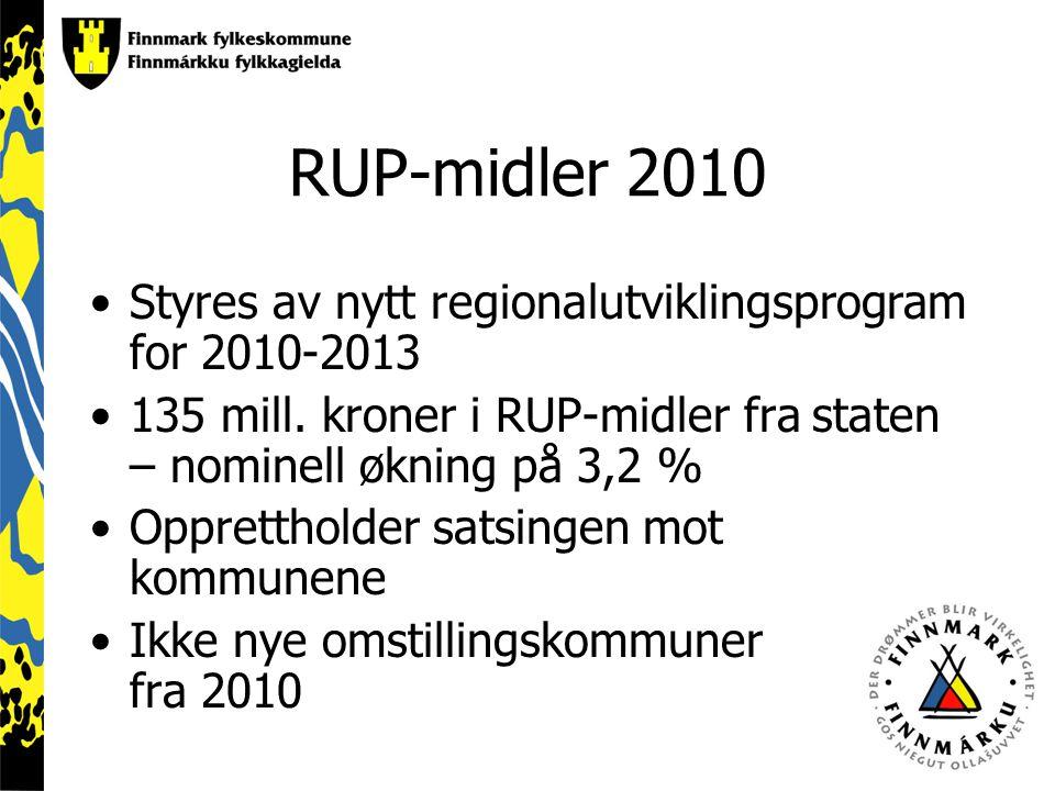 RUP-midler 2010 Styres av nytt regionalutviklingsprogram for 2010-2013 135 mill.
