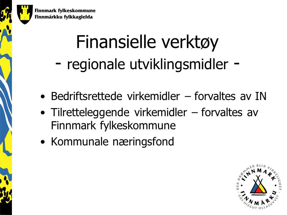 Finansielle verktøy - regionale utviklingsmidler - Bedriftsrettede virkemidler – forvaltes av IN Tilretteleggende virkemidler – forvaltes av Finnmark fylkeskommune Kommunale næringsfond