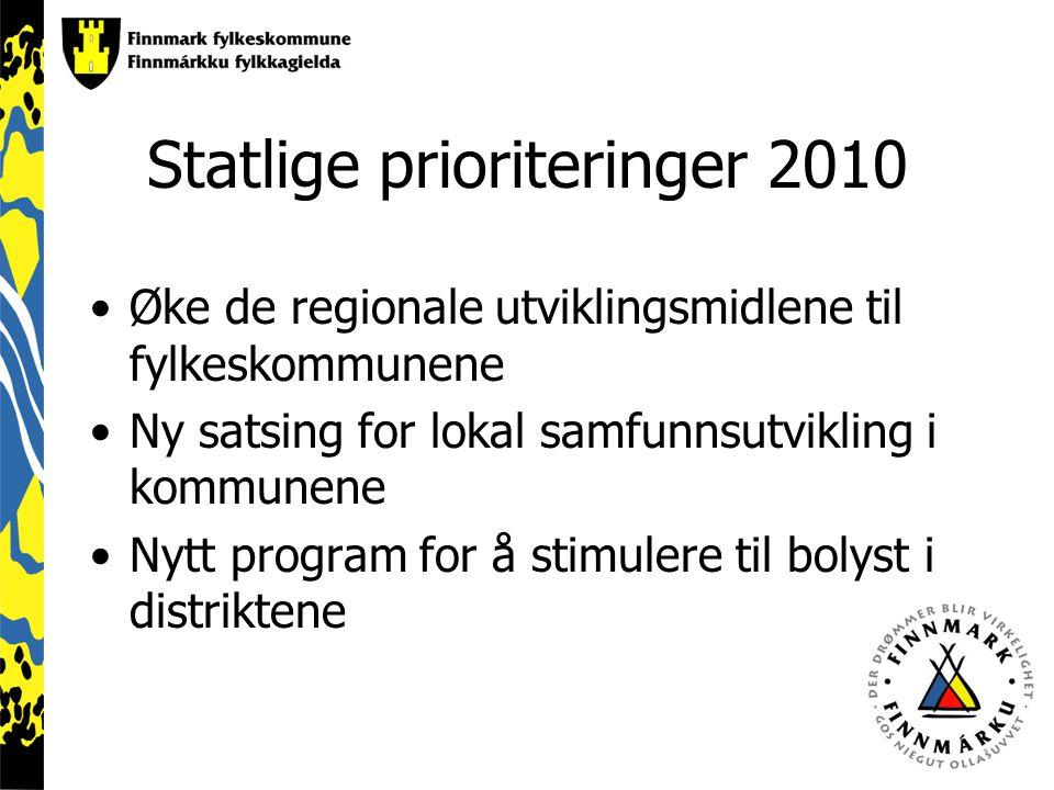 Statlige prioriteringer 2010 Øke de regionale utviklingsmidlene til fylkeskommunene Ny satsing for lokal samfunnsutvikling i kommunene Nytt program for å stimulere til bolyst i distriktene