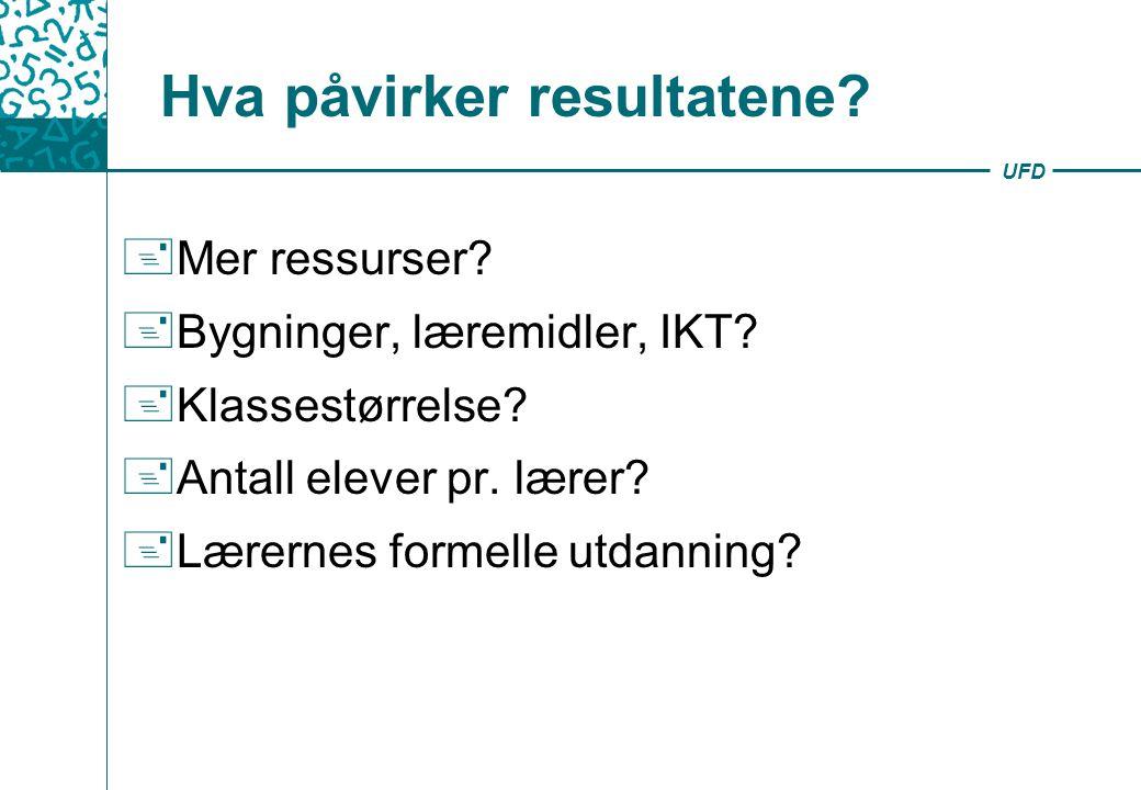 UFD Hva påvirker resultatene.+ Mer ressurser. + Bygninger, læremidler, IKT.