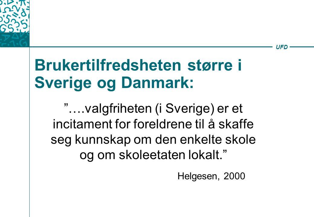 UFD Brukertilfredsheten større i Sverige og Danmark: ….valgfriheten (i Sverige) er et incitament for foreldrene til å skaffe seg kunnskap om den enkelte skole og om skoleetaten lokalt. Helgesen, 2000