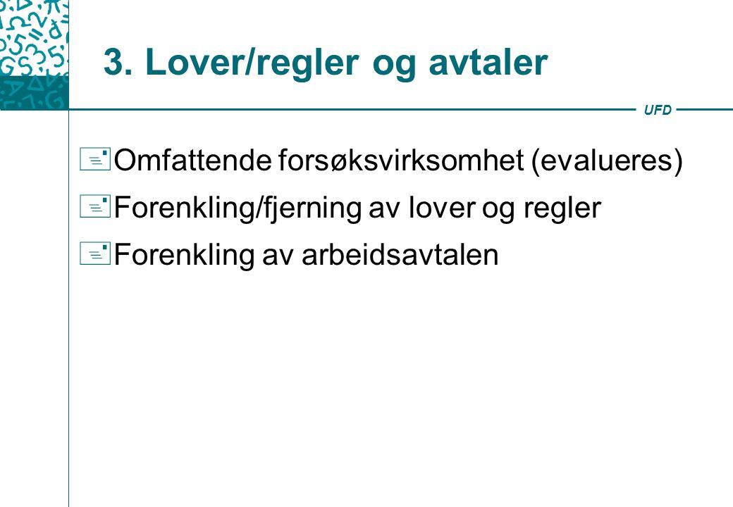 UFD 3. Lover/regler og avtaler + Omfattende forsøksvirksomhet (evalueres) + Forenkling/fjerning av lover og regler + Forenkling av arbeidsavtalen